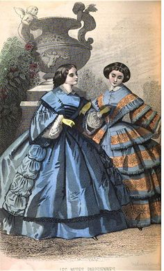 1858 Peterson's Magazine, two lovely day dresses, blue & ecru.