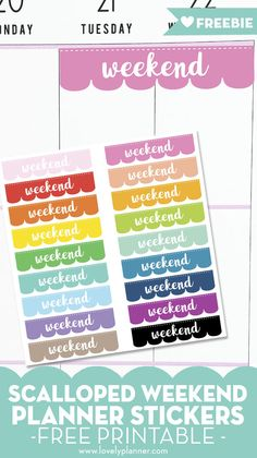 """Decorate your planner with these free printable scalloped """"Weekend"""" Planner Stickers. wide, it fits the Classic Happy Planner and many other planners. To Do Planner, Free Planner, Goals Planner, Erin Condren Life Planner, Planner Pages, Happy Planner, Teacher Planner, Planner Ideas, Weekly Planner"""