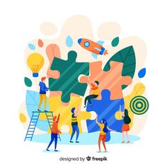 People connecting puzzle pieces colorful background Free Vector Flat Design Illustration, Business Illustration, Illustration Art, Blog Design, Page Design, Kindergarten Design, Hospital Design, Creative Powerpoint, Vector Pattern