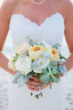 Pastel wedding bouquet idea - ivory + peach garden roses, peonies, dusty miller and succulents {Shannon Reeves Events}