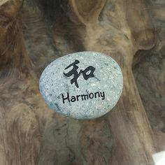 Engraved  Beach Pebble Kanji Stone - Harmony
