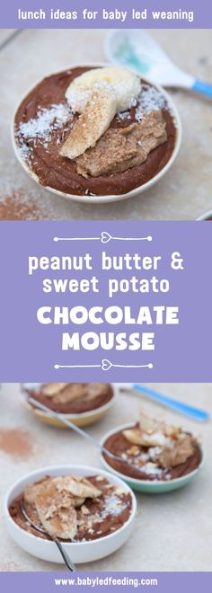Healthy chocolate mousse with peanut butter & sweet potato. A yummy recipe for blw, baby led weaning & as a treat for kids and grownups too.