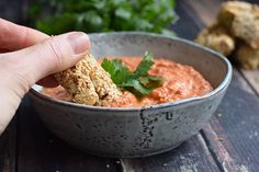 A delicious walnut roasted red pepper dip from Syria: low FODMAP muhammara. Delicious as a party snack or on a sandwich! Muhammara Recipe, Low Fodmap Vegetables, Roasted Red Pepper Dip, Homemade Tzatziki, Greek Salad Pasta, Fodmap Recipes, Tapenade, Lunch Recipes