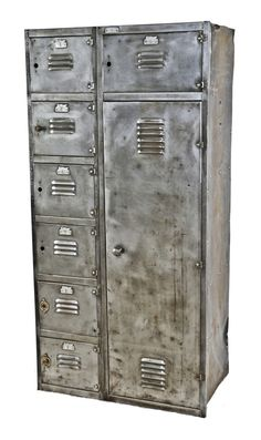 completely refinished early 20th century antique american industrial salvaged chicago wrigley chewing gum factory oversized cold-rolled iron locker