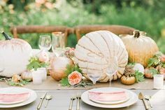 Floral and Pumpkin Table Runner | Megan Robinson Photography and Leslie Dawn Events | Blush and Rose Gold Woodland Wedding Shoot