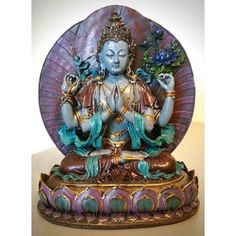 Chenrezig beeld full color (Avalokiteshvara)