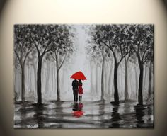 original abstract painting, walking in rain, black white red,love couple,24x18 inch,on stretched canvas $89.00, via Etsy.