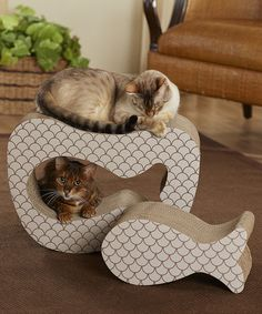 Look at this #zulilyfind! Beige & Brown Fish Cutout Cat Scratcher Set #zulilyfinds OMG my cats would love this! lol