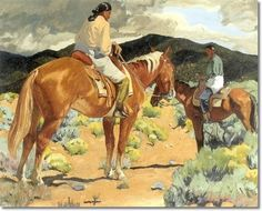 Walter Ufer - Showing Off The Bay Horse Native Americana Painting