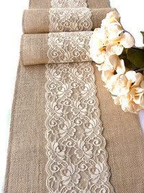 Beautiful rustic decor for your wedding table , this table runner is handmade of natural colored burlap and beautiful country cream Italian lace displayed in the center.  The runner is 12  wide and is serged on the edges with color coordinated thread, for durability and beauty. The