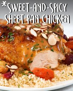 Sweet and Spicy Sheet Pan Chicken Sweet and Spicy Sheet Pan Chicken: There's nothing quite as satisfying as a sheet pan supper that's high on flavor and low on cleanup. This tangy sheet pan chicken supper gets a little Chicken Recipes Video, Pork Recipes, Cooking Recipes, Healthy Recipes, Lunch Recipes, Cooking Tips, Sheet Pan Suppers, Chicken Cordon Bleu, One Pot Meals