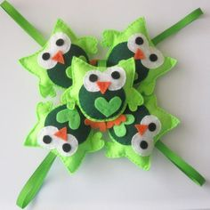 Owl party favors, set of 5 green owl party favors