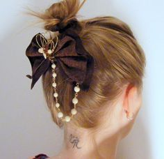 Leather bow recycled leather hair bow with brass by DebraNicholls, $28.00