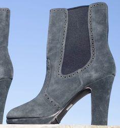 Pelle Moda Slate Grey Gray Suede Platform Block High Heel Ankle Boots 7.5 M #PelleModa #AnkleBoots #Casual
