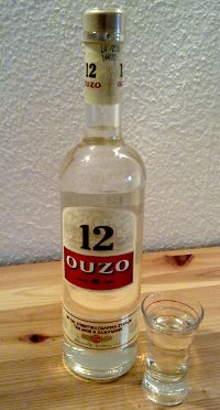 Ouzo 12 - my dad, uncles and I may have overdone it at my brothers wedding. Did make our travel arrangements the next day. Greece House, Silk Flower Arrangements, Thats The Way, Wine And Spirits, Greek Recipes, Yummy Drinks, Glass Bottles, Whisky, Liqueurs