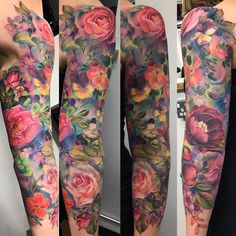 Color Flower Sleeve Tattoo by Samantha Ford tattoo ideen Best Sleeve Tattoos - Tattoo Insider Half Sleeve Tattoos Color, Colorful Sleeve Tattoos, Colorful Flower Tattoo, Tattoos Geometric, Leg Sleeve Tattoo, Best Sleeve Tattoos, Sleeve Tattoos For Women, Tattoo Sleeve Designs, Back Tattoo