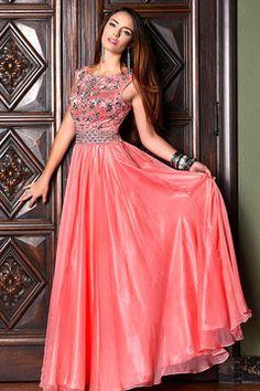 2015 encolure corsage perlé Une ligne de robe de bal Avec Flowing Jupe