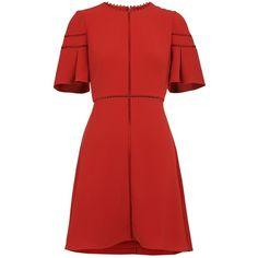 Whistles Estrella Fluted Sleeve Dress, Burnt Orange (€175) ❤ liked on Polyvore featuring dresses, sleeved maxi dress, red mini dress, short sleeve maxi dress, red flare dress and long-sleeve mini dress