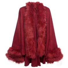 Dahlia Women's Poncho Faux Fur Trim Imprinted Rose Cape ($63) ❤ liked on Polyvore featuring outerwear, poncho cape, poncho cape coat, cape poncho, red cape and red poncho