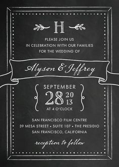 Sweet Chalkboard Wedding Invitation