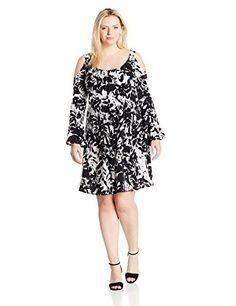 Karen Kane Women's Plus Size Cold Shoulder Flare Sleeve Dress - http://www.darrenblogs.com/2017/04/karen-kane-womens-plus-size-cold-shoulder-flare-sleeve-dress/