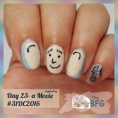 """Day 23 - inspired by a movie #31dc2016 --------------------- - - - -  I chose """" BFG"""" and adaptation of the BFG book by Roald Dahl --------------------------- - - - - -  Used #sinfulcolors -  Cinderella ,  #beautyvalue -  62,  #wetnwild -  casting call .  All nail art was done freehand today.  #mahnails #nailsoftheday #nailart  #nails #glitter #challenge #beauty #nag_repost #instanails #instacute #freehand #love #inspired #movie #bfg #roalddahl"""