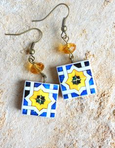 Portugal Tile Antique Azulejo Tile Replica Earrings by Atrio