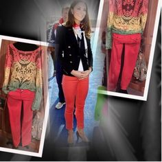 BONGO SKINNIES IN CORAL Beautiful coral color and embellished with shiny accent buttons on the front closure and back pockets.. Perfect fit with just enough stretch.. Gently used.. Gorgeous lace sherbet blouse can be found @saundie closet BONGO Jeans
