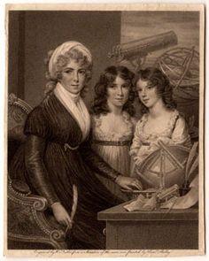 Mor og astronom I dette portræt er Margaret Bryan og hendes døtre omgivet af måleinstrumenter og videnskabelige modeller. Margaret Bryan får her både tildelt rollen som mor og naturfilosof, som taler for, at de to roller ikke er uforenelige.  Når Bryan vises i selskab med sine døtre og videnskabelige instrumenter, går dette billede imod det kvindesyn, der var dominerende i 1700-tallet. Døtrene henviser måske også til mere end Margaret Bryans rolle som mor – de kunne repræsentere de kommende…