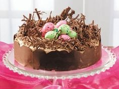 birds nest shaved chocolate decorated cakes | Chocolate Easter Cake