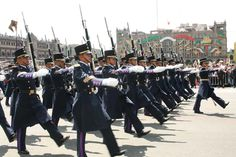 Cadets of the Mexican Air Force College (Colegio del Aire) marching through the Zócalo in Mexico City at the 2011 Mexican Independence Day Parade.