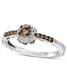 Le Vian 14k White Gold Ring, Chocolate Diamond (1/3 ct. t.w.) and White Diamond Accent Ring - Rings - Jewelry & Watches - Macys