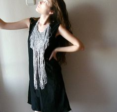 Grey Silver glittery long Fringe Necklace both sides by seragun, $32.00