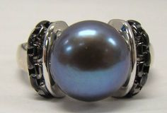 HONORA 925 STERLING SILVER 7.5 RING 11mm FRESHWATER BUTTON BLACK PEARL MSRP $205 #HONORA #Solitaire