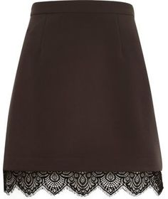 Dark grey lace hem A-line skirt