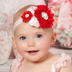 Red and Pink Floral Headband