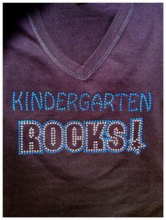 Rhinestone Bling Teacher Kindergarten ROCKS T Shirt- Custom Team, School, and Spirit Apparel