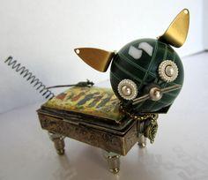 Fancy Cat  found object robot sculpture assemblage by ckudja, $50.00