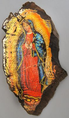 """Lady of Guadalupe """"Icon Art"""" Painting on Vintage Gold or Silver Plated Reclaimed Wood (8841-032) by gdebrekhtgallery. Explore more products on http://gdebrekhtgallery.etsy.com"""