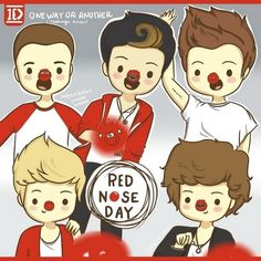 Cartoon One Direction: Red Nose Day One Direction Fan Art, One Direction Drawings, One Direction Cartoons, One Direction Wallpaper, One Direction Imagines, Direction Quotes, 1d Imagines, Red Nose Day, One Ditection