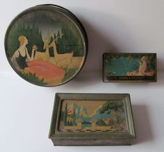Antique Tin Containers | ART DECO Antique Tin Boxes 3 Different Lovely Images. via Etsy.