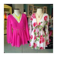 pink romper & floral dress. Love