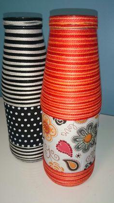 Garrafas decoradas com tecido