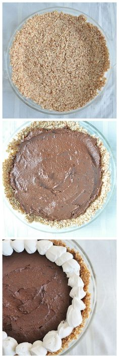 Decadent Chocolate Mousse Pie made from healthier ingredients! No bake, vegan, gluten free and paleo. The perfect summer dessert!: