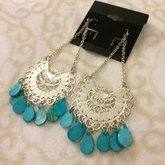 Jewelry - Silver/Turquoise Tear Drop Earrings - Boho Chic