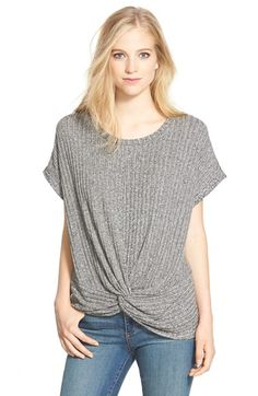 Free shipping and returns on Pleione Twist Front Rib Knit Top (Regular & Petite) at Nordstrom.com. A twist detail at the front hem brings softly draped dimension to a rib-knit top in a slouchy silhouette with fluttery short sleeves.