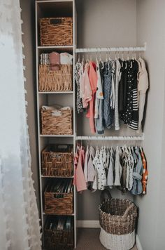 An open concept closet for our baby girl. Baby Nursery Closet, Baby Bedroom, Baby Room Decor, Baby Closets, Baby Girl Closet, Baby Room Diy, Nursery Room, Girls Closet Organization, Organization Ideas