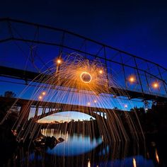 Beautifully surreal long-exposure photos of steel wool on fire