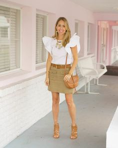 White ruffle sleeve top, khaki skirt