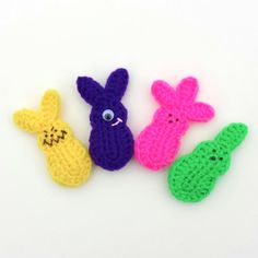 Set of FACTORY REJECT Bunny Peeps. Crocheted 4 by 2Good2Eat, $7.50